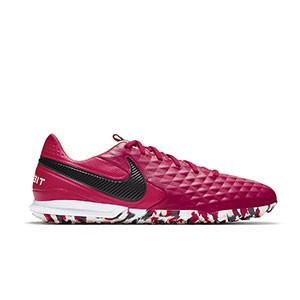 Nike Tiempo Legend 8 Pro TF - Zapatillas de fútbol multitaco Nike de piel con suela turf - granates - pie derecho