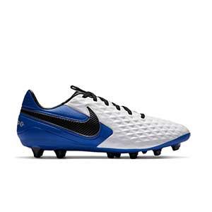 Nike Tiempo Legend 8 Pro AG-PRO - Botas de fútbol de piel Nike AG-PRO para césped artificial - blancas y azules - pie derecho