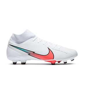 Nike Mercurial Superfly 7 Academy FG/MG - Botas de fútbol con tobillera Nike FG/MG para césped artificial - blancas - pie derecho