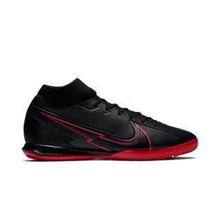 Nike Mercurial Superfly 7 Academy IC - Zapatillas fútbol sala con tobillera Nike suela lisa IC - negras - pie derecho