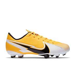 Nike Mercurial Vapor 13 Academy FG/MG Jr - Botas de fútbol infantiles Nike MG para césped artificial - amarillo anaranjado - pie derecho