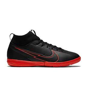 Nike Mercurial Superfly 7 Academy IC Jr - Zapatillas fútbol sala para niño con tobillera Nike suela lisa IC - negras - pie derecho
