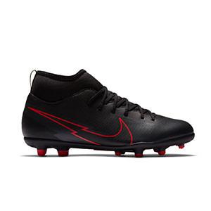 Nike Mercurial Superfly 7 Club FG/MG Jr - Botas de fútbol infantiles con tobillera Nike MG para césped artificial - negras - pie derecho