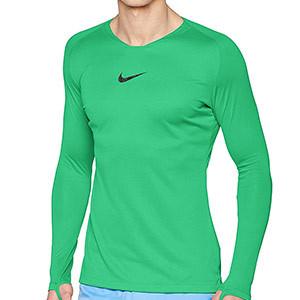 Camiseta interior térmica Nike Dri-Fit Park - Camiseta interior compresiva manga larga Nike - verde - frontal