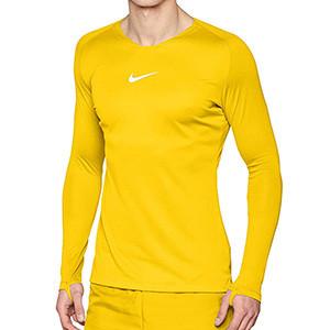 Camiseta interior térmica Nike Dri-Fit Park - Camiseta interior compresiva manga larga Nike - amarilla - frontal