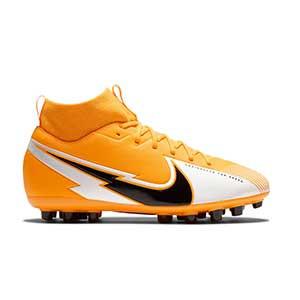 Nike Mercurial Superfly 7 Academy AG Jr - Botas de fútbol infantiles con tobillera Nike AG para césped artificial - amarillo anaranjado - pie derecho