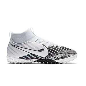 Nike Mercurial Jr Superfly 7 Academy MDS TF - Zapatillas de fútbol multitaco con tobillera para niño Nike suela turf - blancas y negras - pie derecho