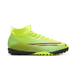 Nike Mercurial Superfly 7 Academy MDS 2 TF Jr - Zapatillas de fútbol multitaco con tobillera para niño Nike suela turf - amarillas y verdes - derecho
