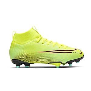 Nike Mercurial Superfly 7 Academy MDS 2 MG Jr - Botas de fútbol con tobillera para niño Nike MG para césped natural o artificial - amarillas y verdes - derecho