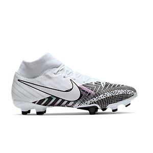 Nike Mercurial Superfly 7 Academy MDS FG/MG - Botas de fútbol con tobillera Nike FG/MG para césped artificial - blancas y negras - pie derecho