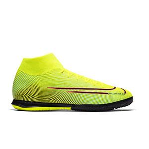 Nike Mercurial Superfly 7 Academy MDS 2 IC - Zapatillas de fútbol sala con tobillera Nike suela lisa IC - amarillas y verdes - derecho