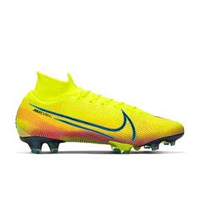 Nike Mercurial Superfly 7 Elite MDS 2 FG - Botas de fútbol con tobillera Nike FG para césped natural o artificial de última generación - amarillas y verdes - derecho
