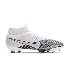 Nike Mercurial Superfly 7 Pro MDS FG - Botas de fútbol con tobillera Nike FG para césped natural o artificial de última generación - blancas y negras - pie derecho