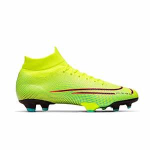 Nike Mercurial Superfly 7 Pro MDS 2 FG - Botas de fútbol con tobillera Nike FG para césped natural o artificial de última generación - amarillas y verdes - derecho
