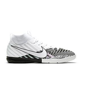 Nike Mercurial Jr Superfly 7 Academy MDS IC - Zapatillas fútbol sala para niño con tobillera Nike suela lisa IC - blancas y negras - pie derecho