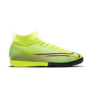 Nike Mercurial Superfly 7 Academy MDS 2 IC Jr - Zapatillas de fútbol sala con tobillera para niño Nike suela lisa IC - amarillas y verdes - derecho