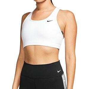 Sujetador deportivo Nike Swoosh - Top deportivo Nike de mujer para fútbol - blanco - frontal