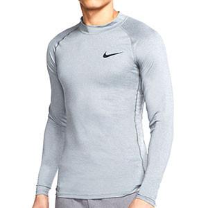 Camiseta interior térmica Nike Pro Mock - Camiseta interior compresiva de manga larga Nike - gris - frontal