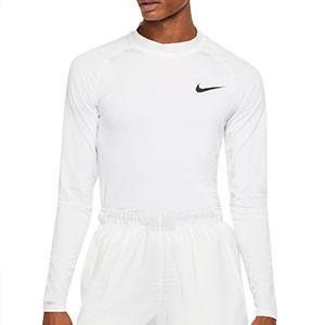 Camiseta interior térmica Nike Pro Mock - Camiseta interior compresiva de manga larga Nike - blanca - frontal