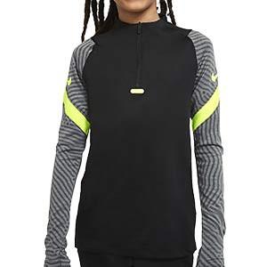 Sudadera Nike niño Breathe Strike - Sudadera de entrenamiento de fútbol infantil Nike - negra y gris - frontal