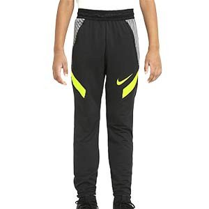 Pantalón Nike niño Dry Strike - Pantalón largo de entrenamiento de fútbol infantil Nike - negro y amarillo - frontal