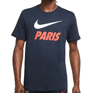 Camiseta algodón Nike PSG Ground - Camiseta de algodón Nike del Paris Saint-Germain - azul marino - frontal