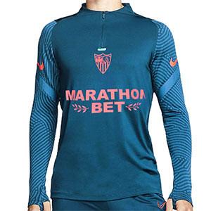 Sudadera Nike Sevilla entreno 2020 2021 - Sudadera de entrenamiento Nike del Sevilla FC 2020 2021 - azul marino - frontal