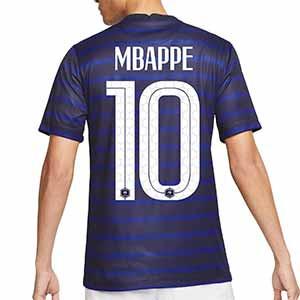 Camiseta Nike Mbappé Francia 2020 2021 Stadium - Camiseta primera equipación de Kylian Mbappé Nike de la selección de Francia 2020 2021 - azul marino - trasera