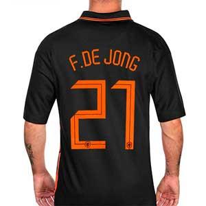 Camiseta Nike De Jong 2a Holanda 2021 Stadium - Camiseta segunda equipaciónde Frenkie de Jong Nike selección de Holanda 2021 - negro - frontal