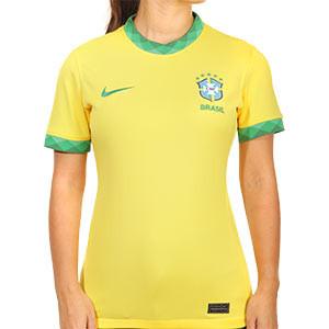 Camiseta Nike Brasil mujer 2020 Stadium - Camiseta de mujer primera equipación Nike selección Brasil 2020 - amarilla - frontal