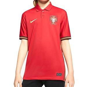 Camiseta Nike Portugal niño 2020 Stadium - Camiseta infantil primera equipación selección de Portugal 2020 2021 - roja - frontal