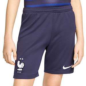 Short Nike Francia niño 2020 2021 Stadium - Pantalón corto infantil primera equipación Nike selección de Francia 2020 2021 - azul marino - frontal
