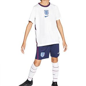 Equipación Nike Inglaterra niño 3 - 8 años 2020 2021 - Kit niño Nike primera equipación selección Inglaterra 2020 2021 - blanco y azul marino - frontal