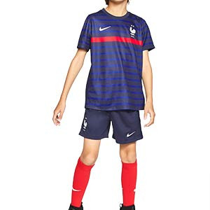 Equipación Nike Francia niño 3 - 8 años 2020 2021 - Kit niño Nike primera equipación selección Francia 2020 2021 - azul marino - frontal