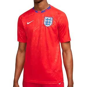 Camiseta Nike Inglaterra pre-match 2020 2021 - Camiseta calentamiento pre partido Nike selección inglesa 2020 2021 - roja - frontal