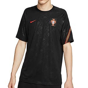 Camiseta Nike Portugal pre-match 2020 2021 - Camiseta de calentamiento pre partido Nike de la selección portuguesa 2020 2021 - negra - frontal