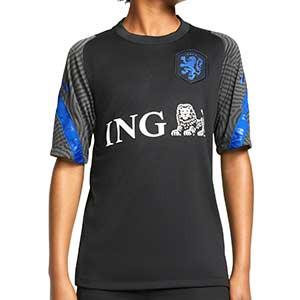 Camiseta Nike Holanda niño entreno 2020 2021 Strike - Camiseta infantil entrenamiento Nike selección holandesa 2020 2021 - negra - frontal