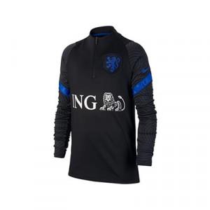 Sudadera Nike Holanda niño entreno 2020 2021 Strike - Sudadera infantil de entrenamiento Nike de la selección holandesa 2020 2021 - negra - frontal
