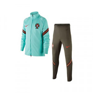 Chándal Nike Portugal niño entreno 2020 2021 Strike - Chándal infantil Nike de la selección portuguesa 2020 2021 - verde turquesa y oscuro - frontal