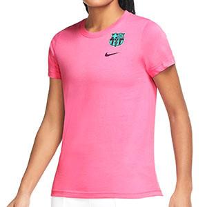 Camiseta Nike mujer Barcelona Evergreen Crest - Camiseta de algodón para mujer Nike del FC Barcelona - rosa - frontal