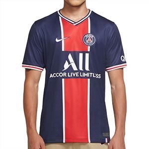 Camiseta Nike PSG 2020 2021 Stadium - Camiseta primera equipación Nike del Paris Saint-Germain 2020 2021 - azul marino y roja - frontal