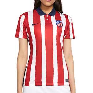 Camiseta Nike Atlético 1a mujer Stadium 2020 2021 - Camiseta mujer Nike primera equipación Atlético de Madrid 2020 2021 - roja y blanca - miniatura