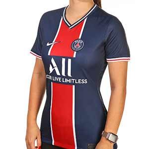 Camiseta Nike PSG mujer 2020 2021 Stadium - Camiseta primera equipación de mujer Nike del Paris Saint-Germain 2020 2021 - azul marino y roja - frontal