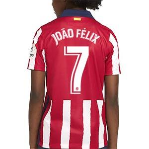 Camiseta Nike Suárez João Félix niño 2020 2021 Stadium - Camiseta infantil Nike primera equipación João Félix del Atlético de Madrid 2020 2021 - roja y blanca - trasera