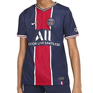 Camiseta Nike PSG niño 2020 2021 Stadium - Camiseta primera equipación infantil Nike Paris Saint-Germain 2020 2021 - azul marino y roja - frontal