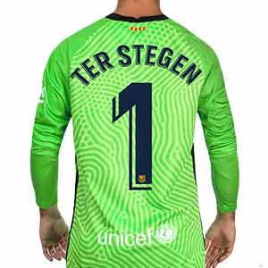 Camiseta Nike Barcelona Ter Stegen 2020 2021 - Camiseta Marc-André ter Stegen Nike FC Barcelona 2020 2021 - verde - trasera