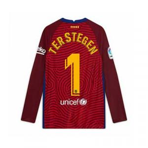 Camiseta Nike Ter Stegen Barcelona niño 2020 2021 - Camiseta infantil Marc-André ter Stegen Nike FC Barcelona 2020 2021 - roja - trasera