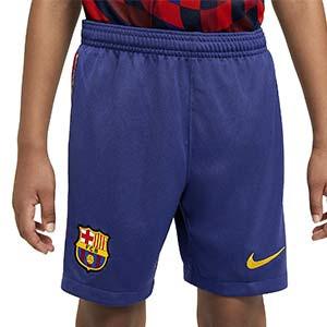 Short Nike Barcelona niño Stadium 2020 2021 - Pantalón corto infantil Nike primera equipación FC Barcelona 2020 2021 - azul - frontal modelo