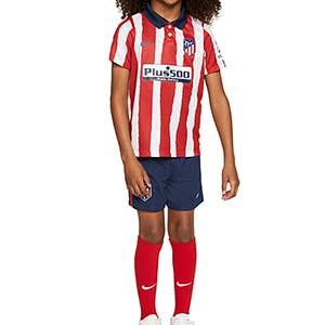 Equipación Nike Atlético niño 3 - 8 años 2020 2021 - Kit niño Nike primera equipación Atlético de Madrid 2020 2021 - roja y blanca - miniatura