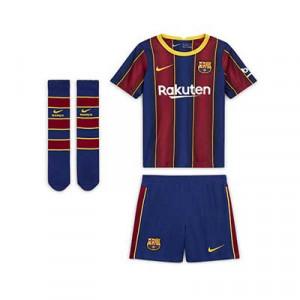 Equipación Nike Barcelona niño 3 - 8 años 2020 2021 - Kit niño Nike primera equipación FC Barcelona 2020 2021 - azulgrana - frontal